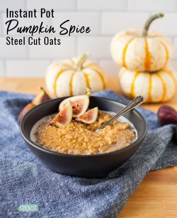 gluten free pumpkin spice instant pot oatmeal in a black bowl with text overlay