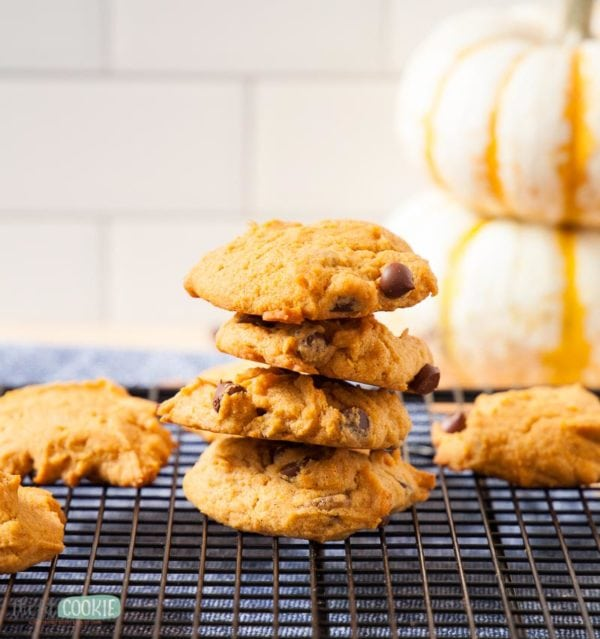 stack of dairy free pumpkin cookies
