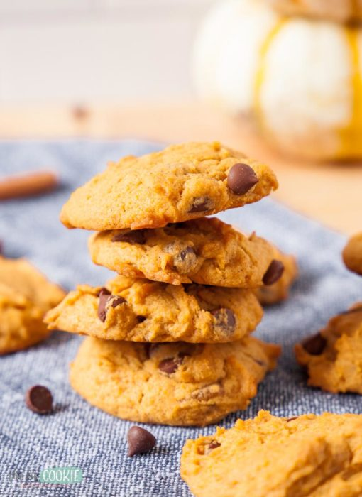 stack of gluten free vegan pumpkin cookies