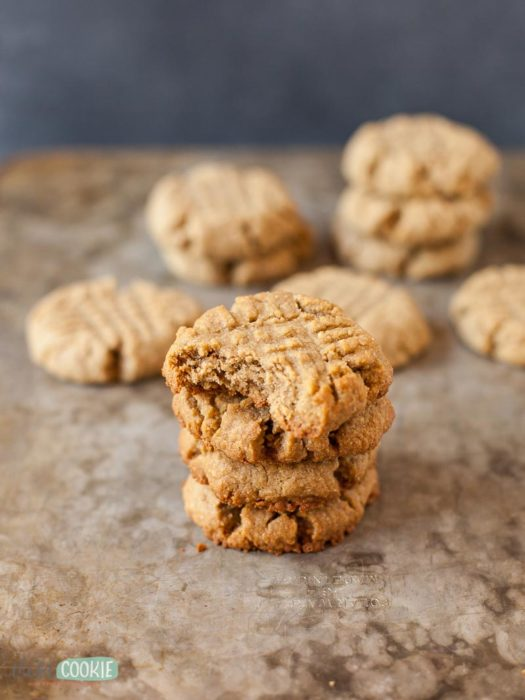 stack of peanut free sunbutter cookies on a baking sheet