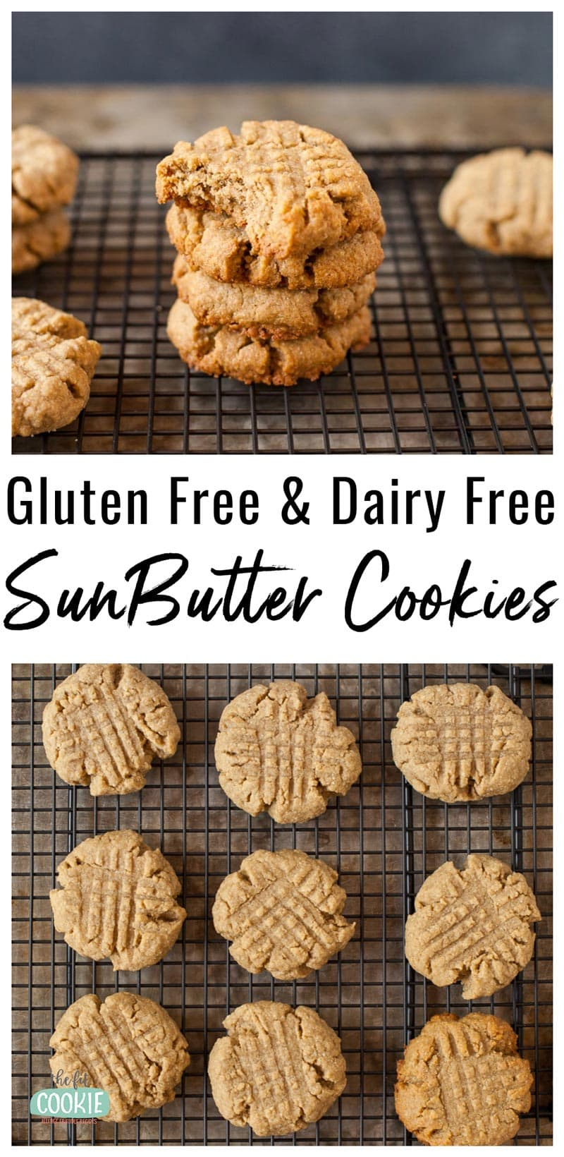 photo collage of gluten free sunbutter cookies on a cooling rack