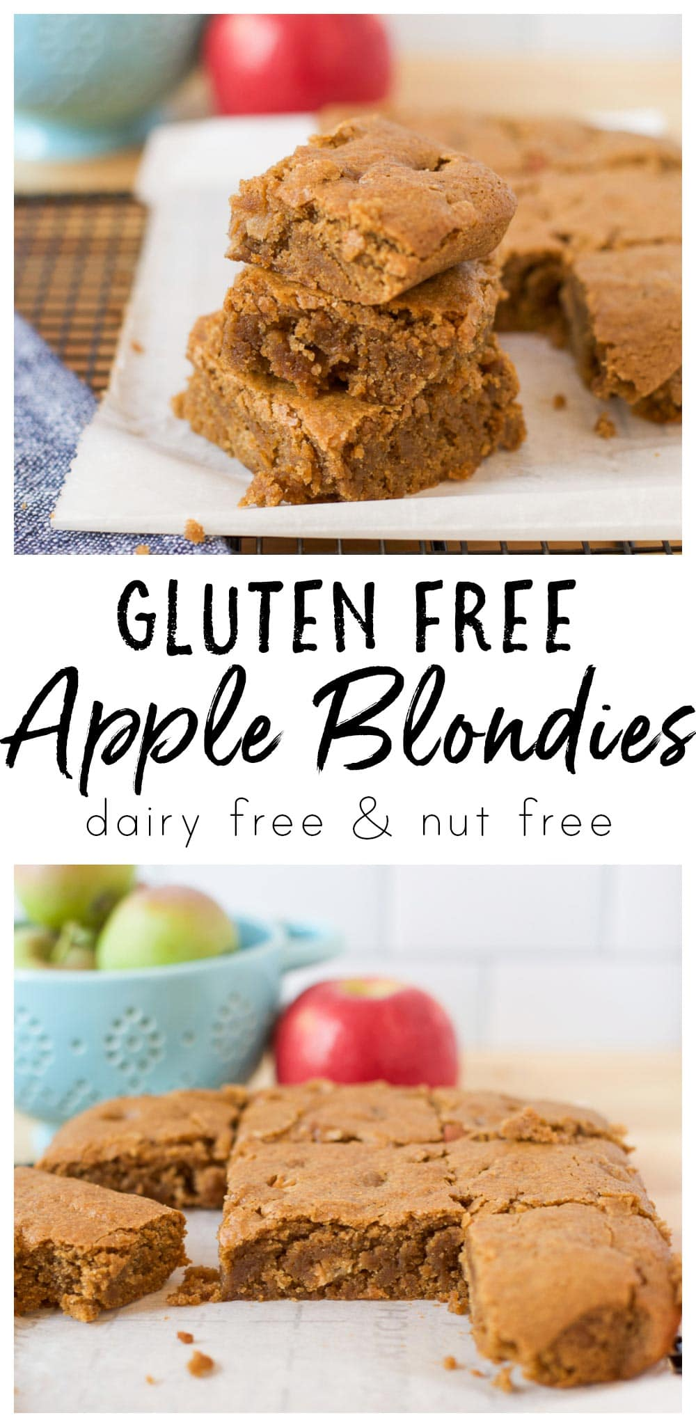 image collage of gluten free apple blondies