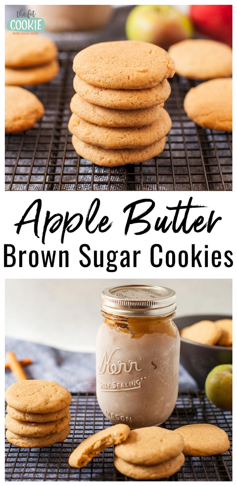 photo collage of dairy free apple butter brown sugar cookies