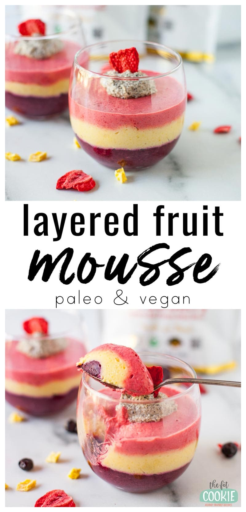 photo collage of vegan layered fruit mousse in glass