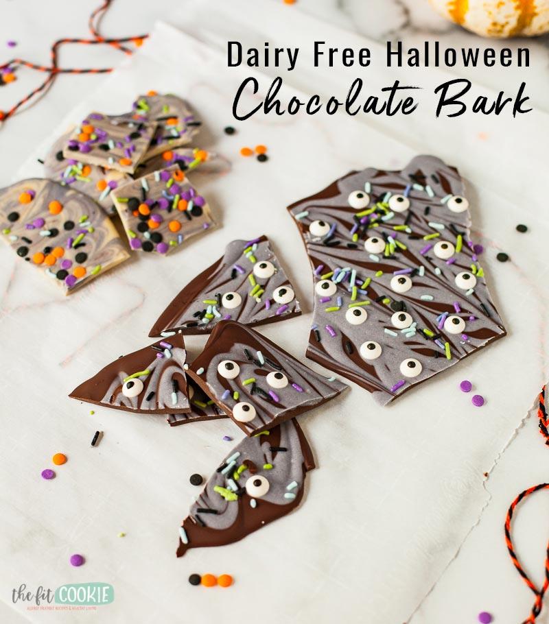 top 8 allergen free halloween chocolate candy bark