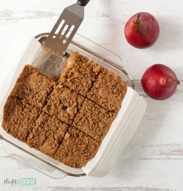 overhead photo of vegan pear coffee cake