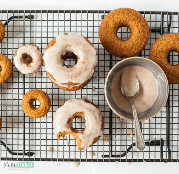 overhead photo of baked donuts, pumpkin spice donuts