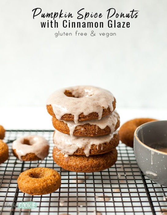 """stack of gluten free donuts with text that says """"pumpkin spice donuts"""""""