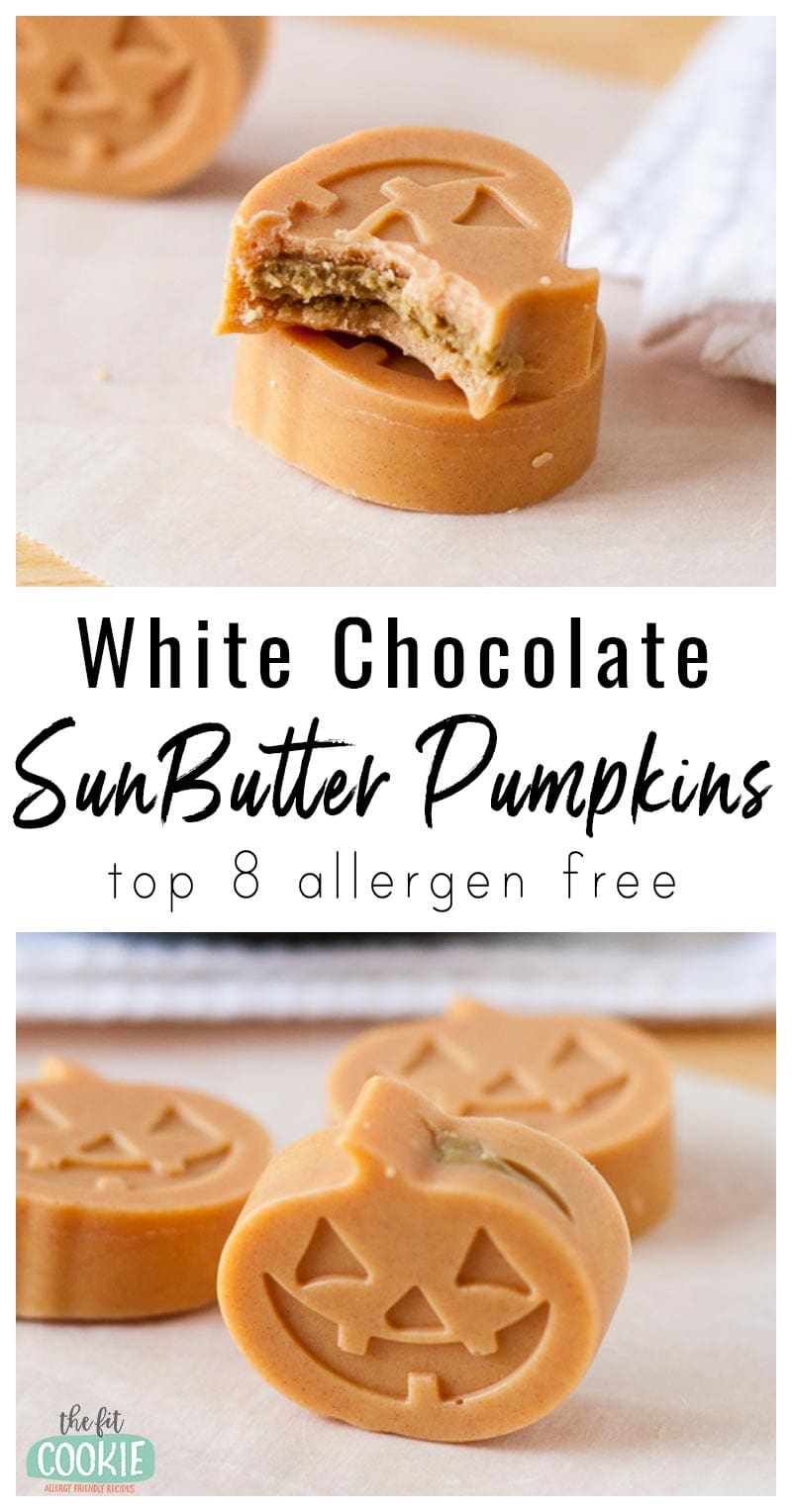 photo collage of dairy free white chocolate sunbutter pumpkins