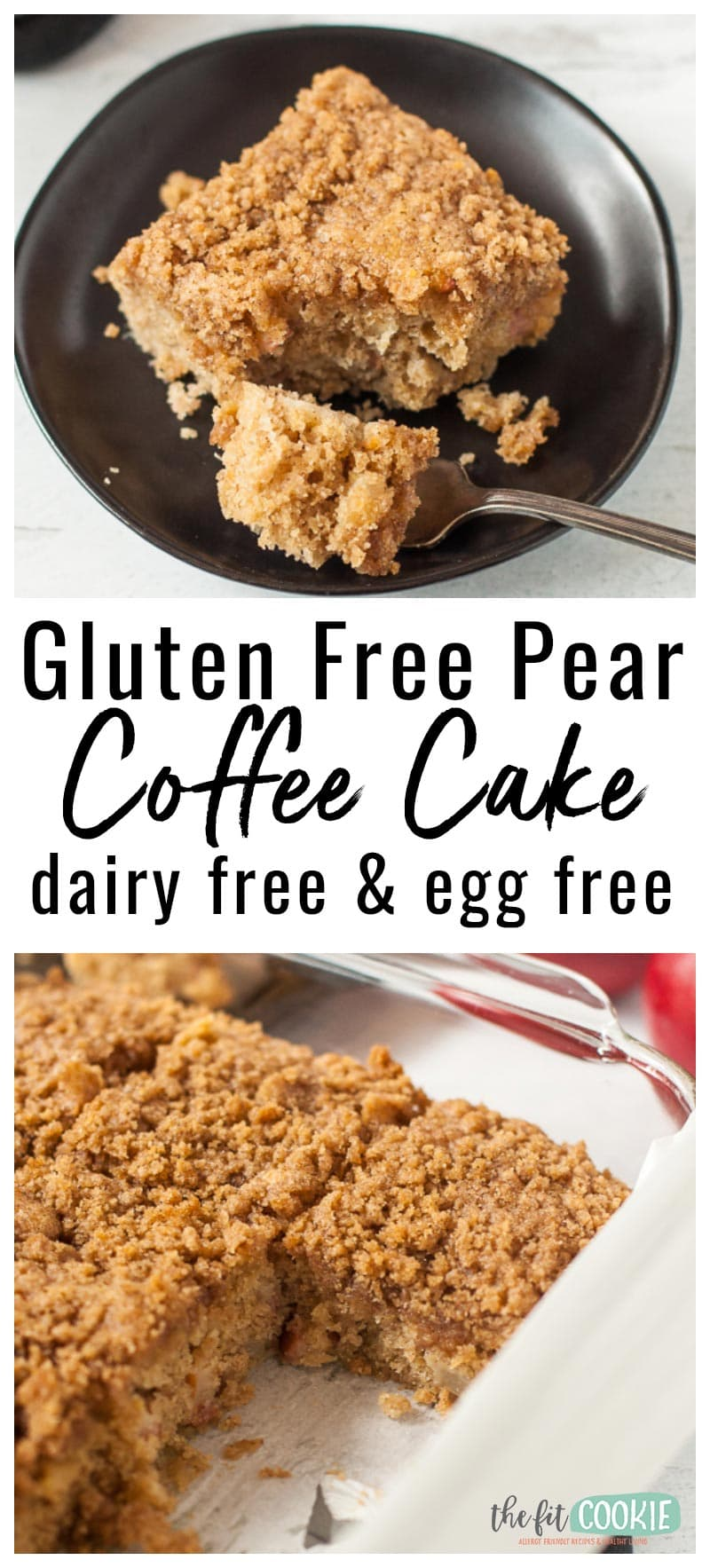 photo collage of vegan gluten free pear coffee cake
