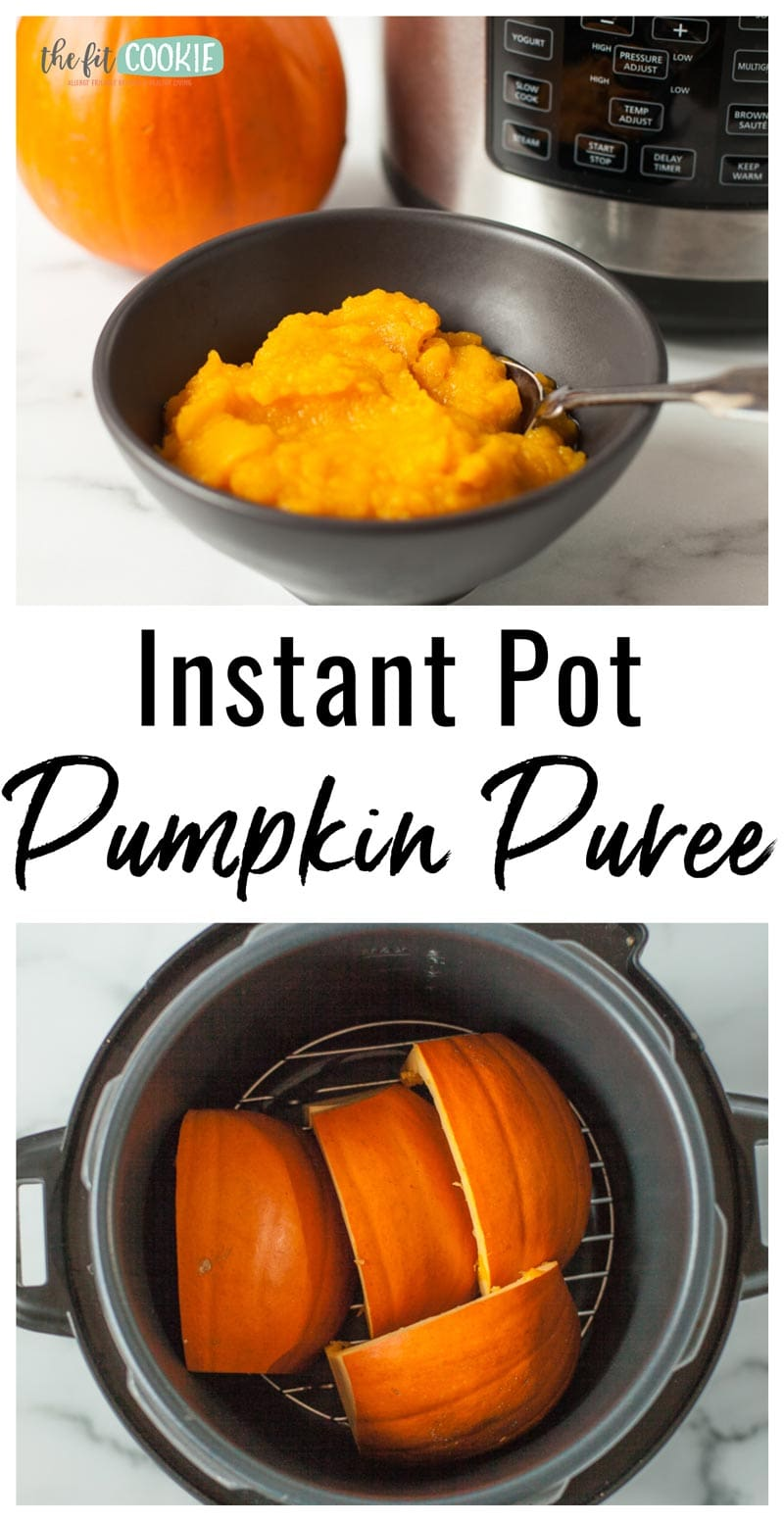 photo collage of pureed pumpkin made in the instant pot