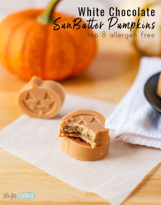 vegan white chocolate sunbutter pumpkin with a bite taken