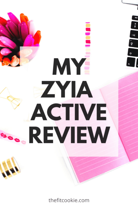 "desk flat lay image with text overlay saying ""zyia active review"""