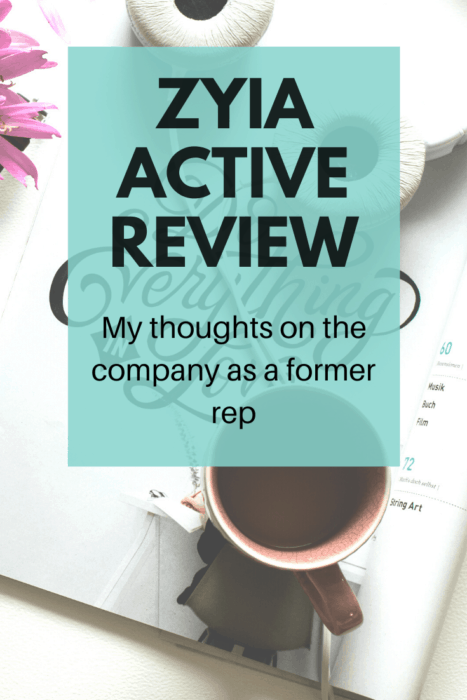 "desktop flat lay image with text overlay saying ""zyia active review"""