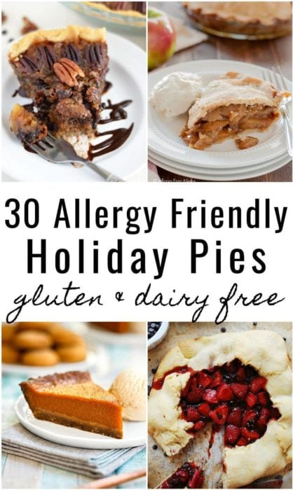 photo collage of gluten free dairy free pies for thanksgiving and christmas