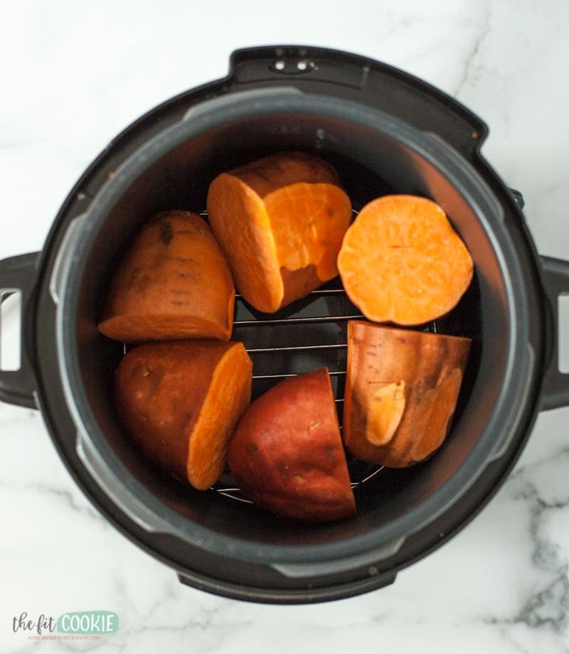 sweet potatoes ready to cook in a pressure cooker