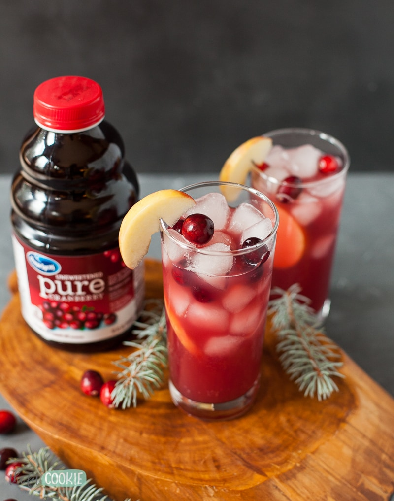 glasses filled with lower sugar mocktail with cranberries