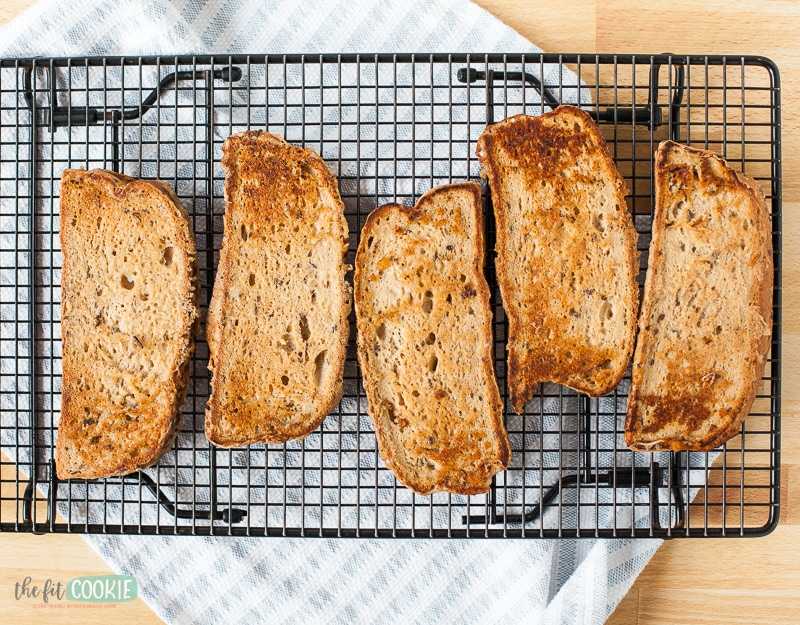whole grain french toast on a cooling rack