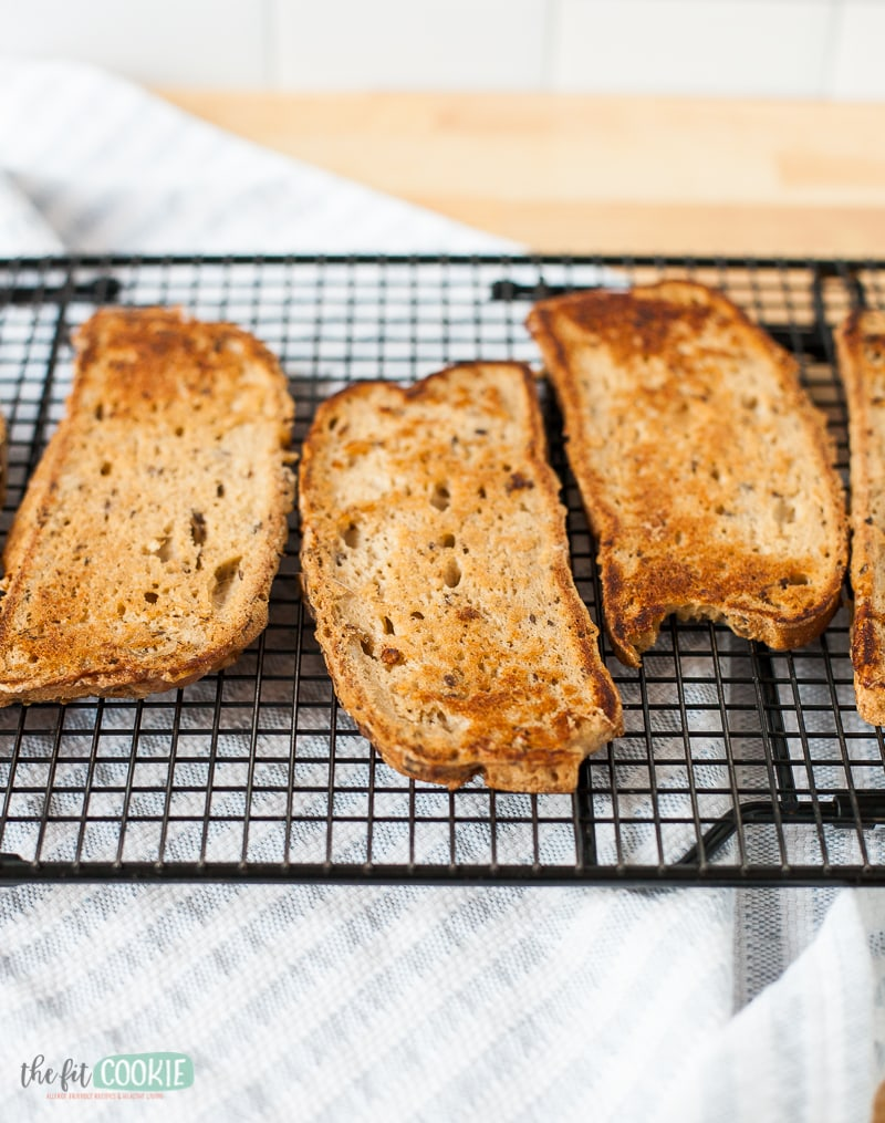 gluten free french toast slices on a cooling rack