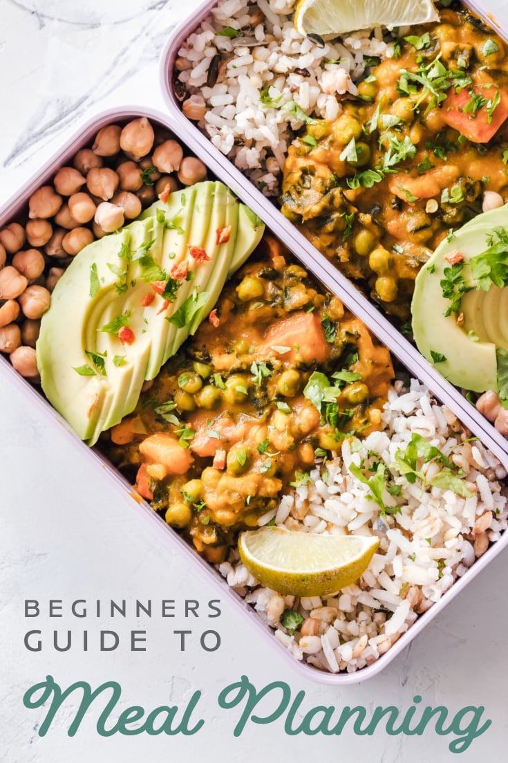 "photo of meal prep bowls with text overlay that says ""beginners guide to meal planning"""