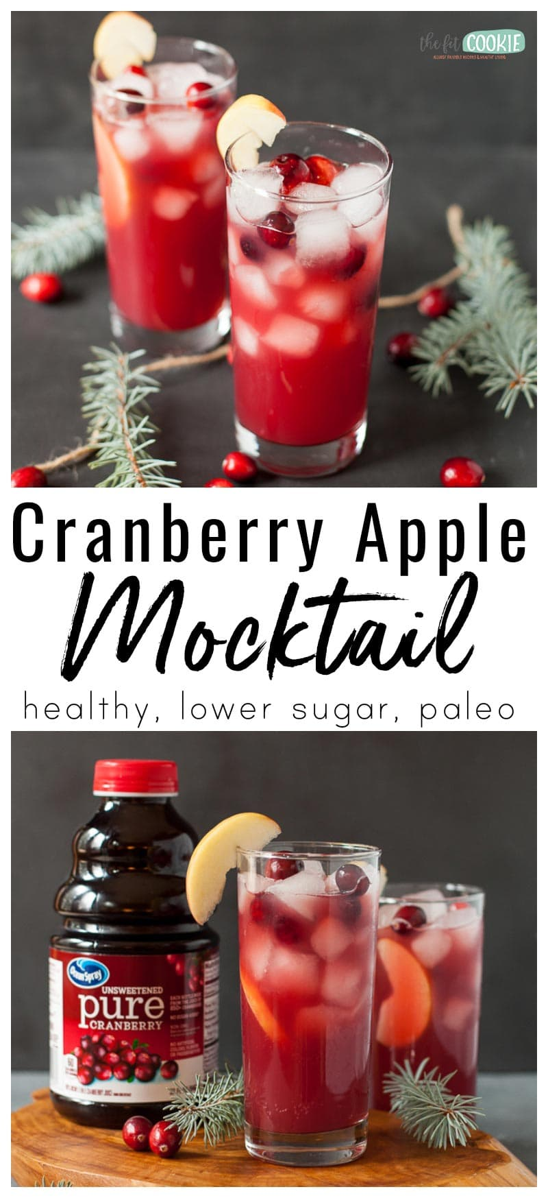 photo collage of cranberry apple mocktail in a tall glass