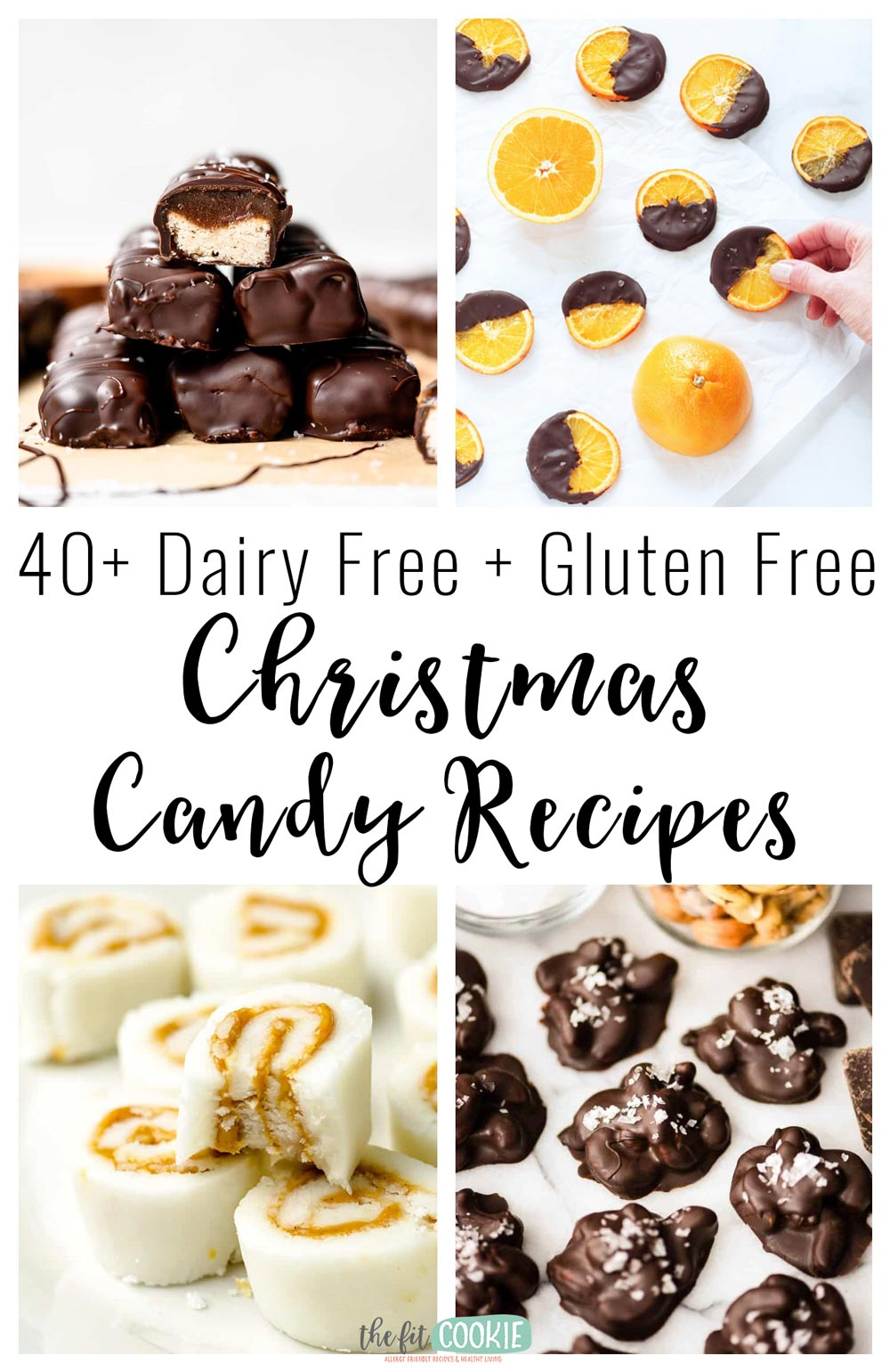 image collage of various gluten free dairy free christmas candies