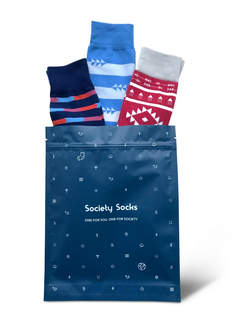 Sock subscription from Society Socks - holiday gifts that give back