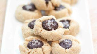 Vegan Salted Cacao Thumbprint Cookies
