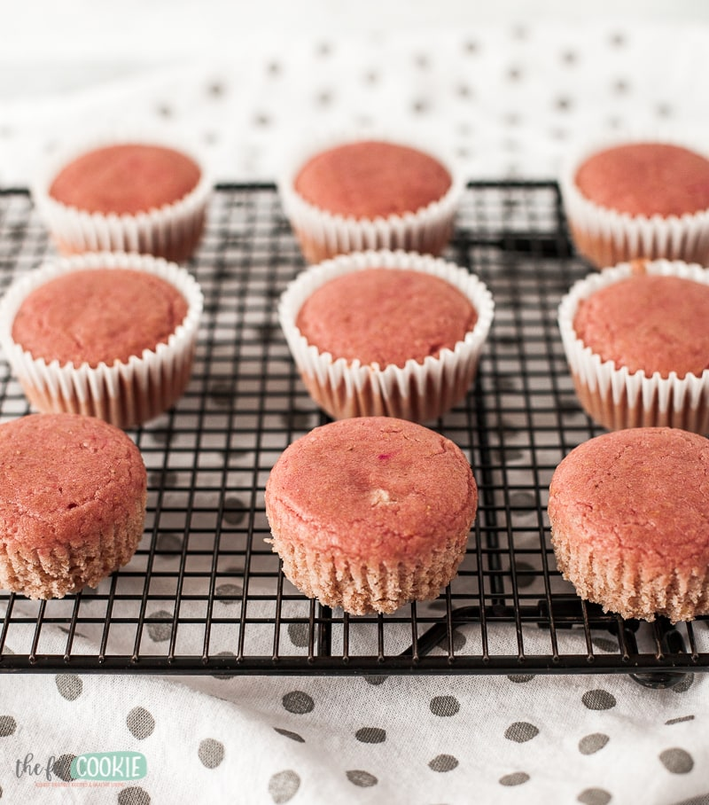 unfrosted pink gluten free cupcakes