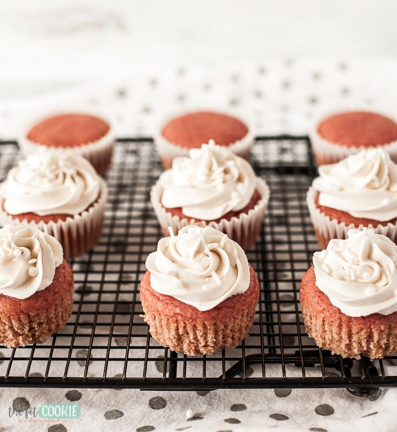 vegan cupcakes with white frosting
