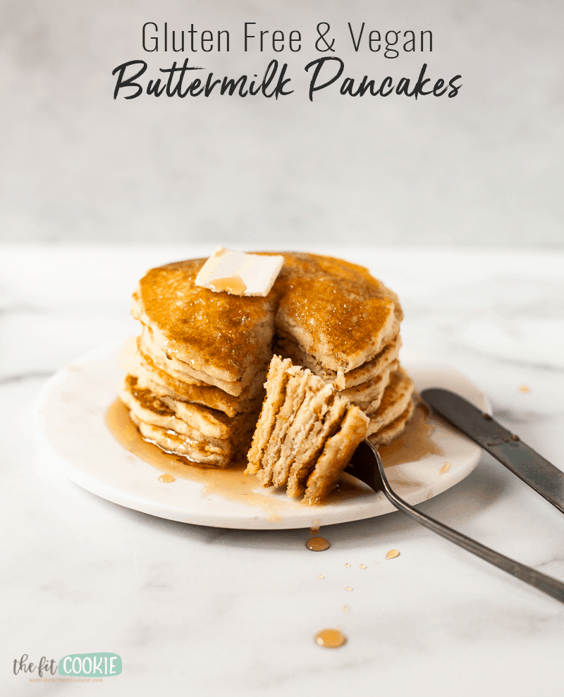 stack of vegan buttermilk pancakes with text overlay