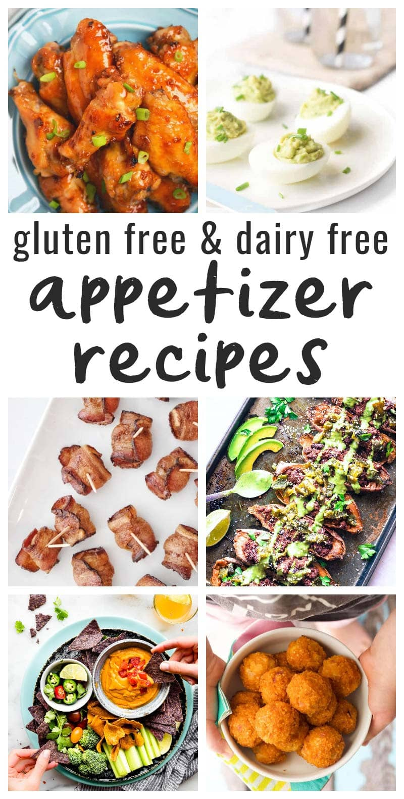 image collage of various allergy friendly appetizer recipes