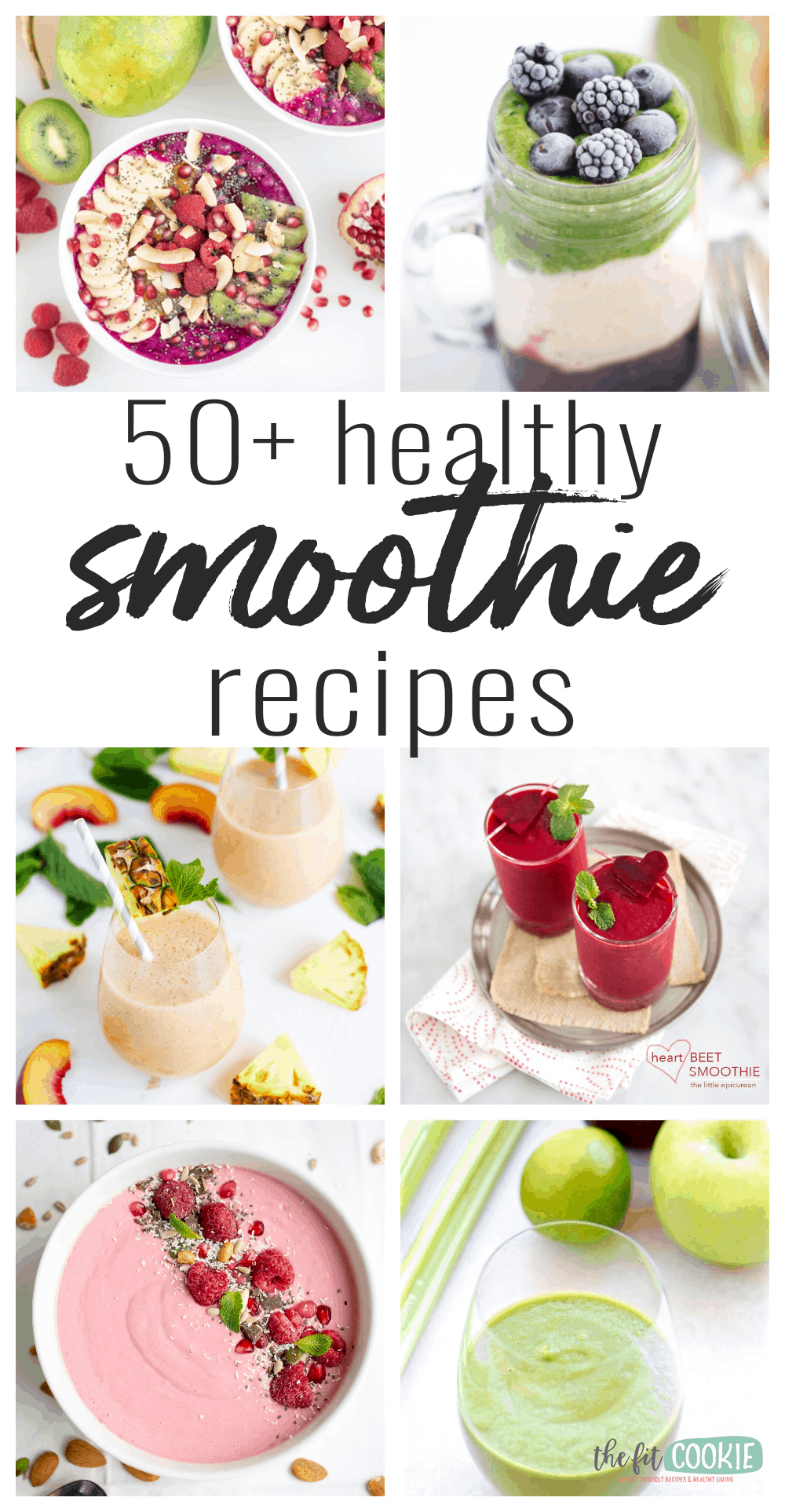 photo collage of healthy dairy free smoothies with text overlay