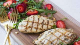 Grilled Chicken with Strawberry and Arugula Salad