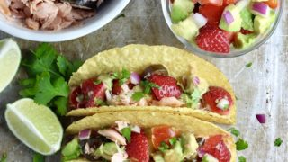 Candied Jalapeno Salmon Tacos with Strawberry Avocado Salsa