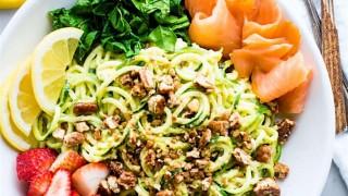 Smoked Salmon and Strawberry Zucchini Noodle Pasta Salad