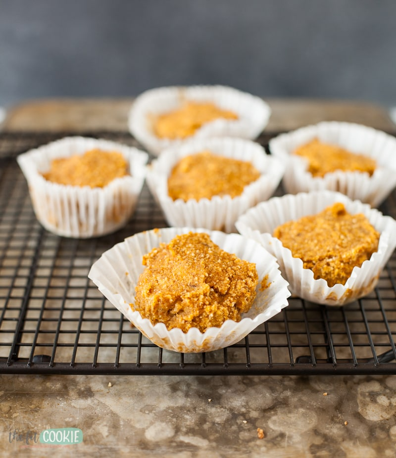 pumpkin muffins in white muffin papers