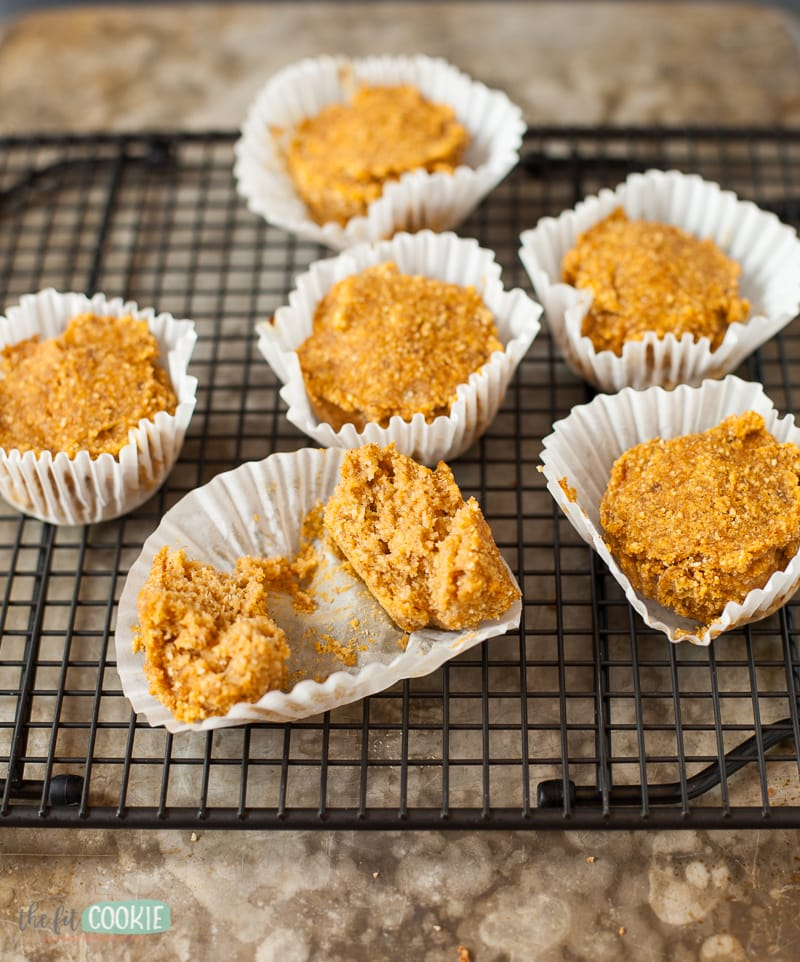 paleo pumpkin muffins cut in half