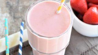 Strawberry-Banana Peanut Butter Smoothie [Vegan, Gluten-Free, No Sugar Added]