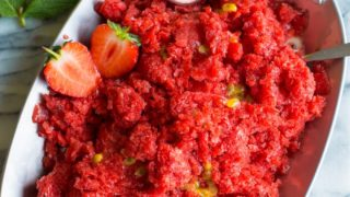 Strawberry Granita with Passion Fruit