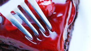 Gluten-free Vegan Double Cherry Chocolate Cake (Gluten, dairy, egg, soy, peanut & tree nut free; top 8 free)