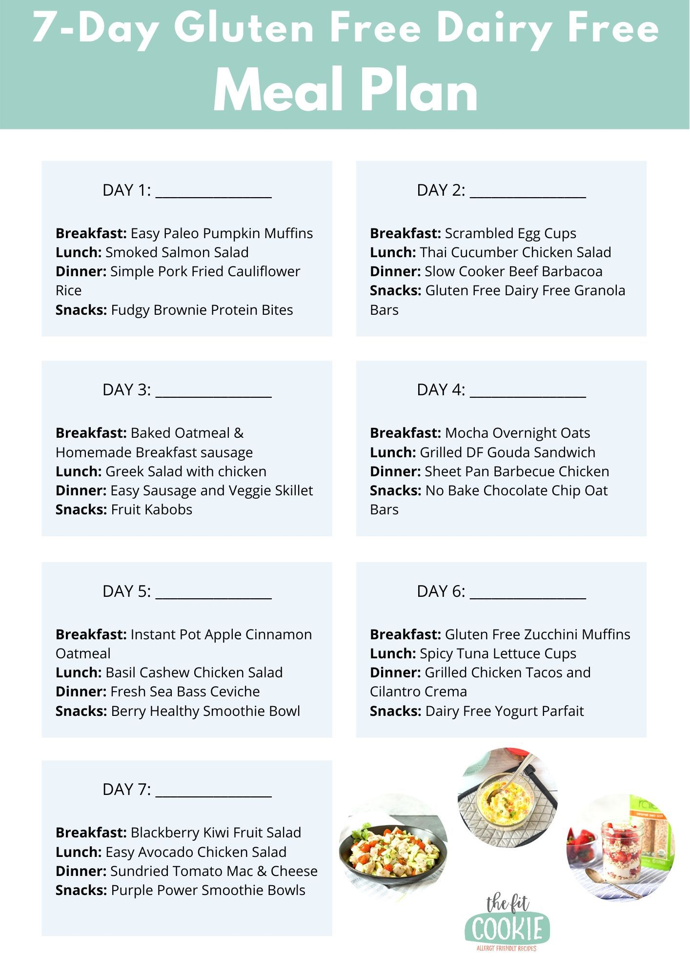 7-day gluten free dairy free meal plan sheet