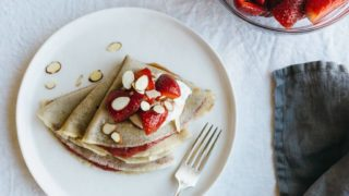 Vanilla Bean Cassava Flour Crepes with Strawberry Chia Seed Jam