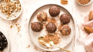 Chocolate Cherry Pecan Energy Balls Recipe (Plant-Based & Gluten-Free)