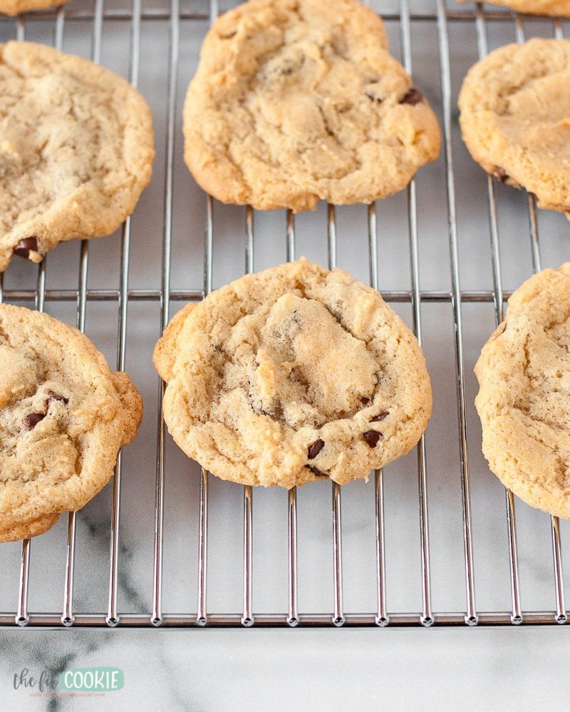 gluten free chocolate chip cookies on a wire rack