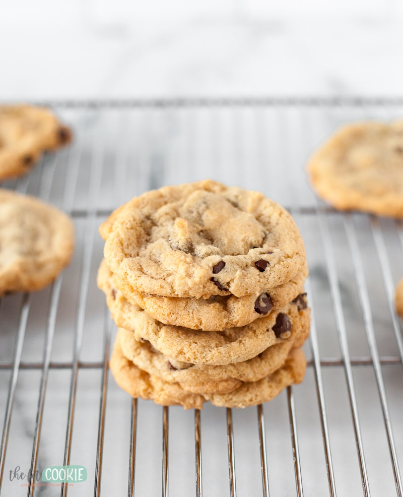 stack of dairy free cookies on a wire rack