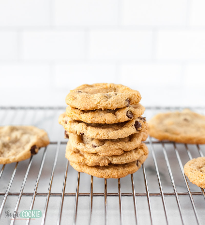 stack of gluten free dairy free cookies on a wire rack