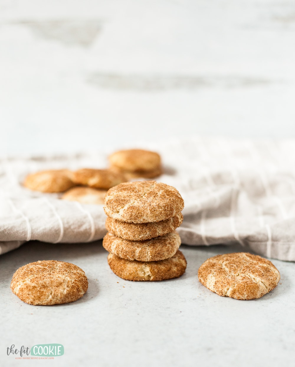 soft snickerdoodle cookies next to napkin