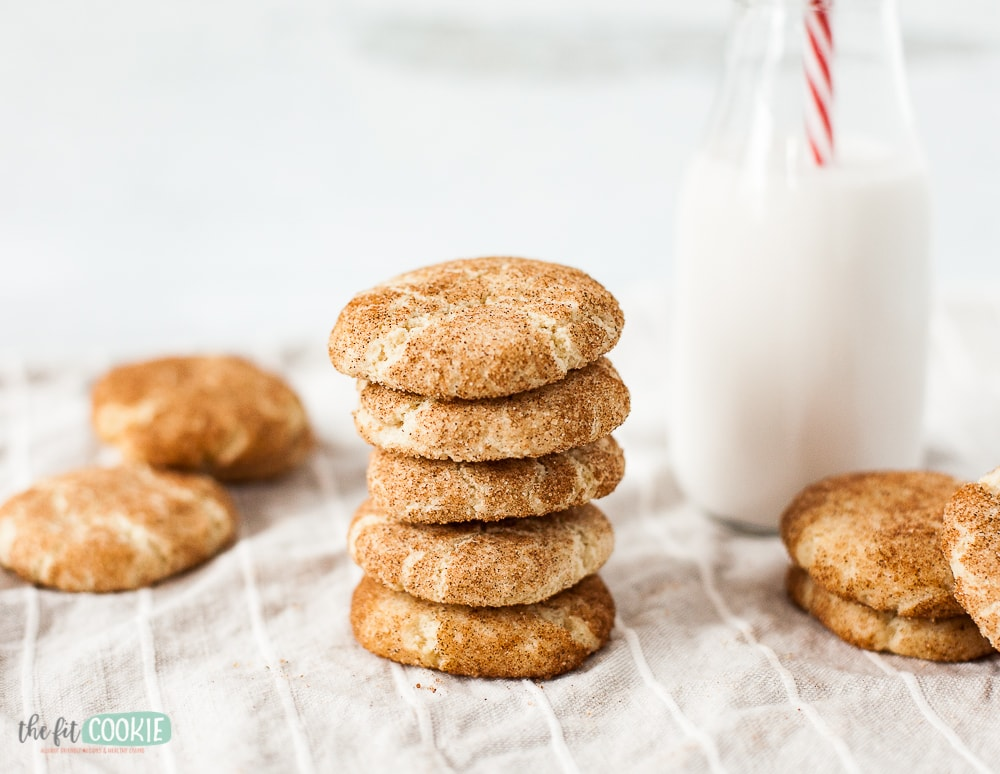 snickerdoodle cookies next to bottle of milk
