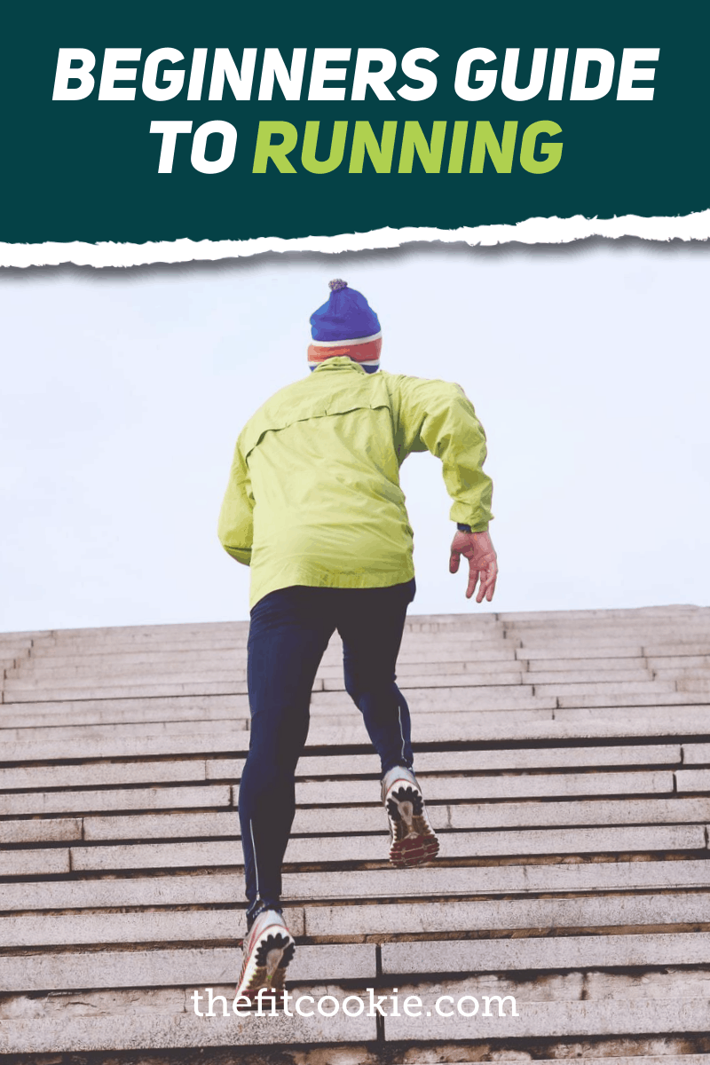 """man running up stairs with text overlay """"beginners guide to running"""""""